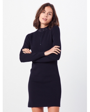 Calvin Klein Jeans Sukienka z dzianiny 'NECK LOGO FITTED SWEATER DRESS'  czarny