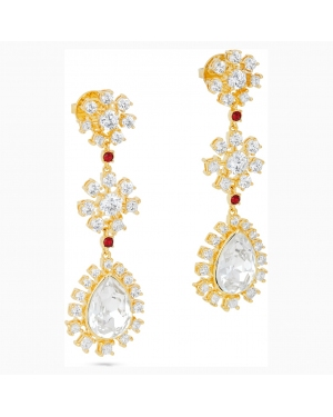 Penélope Cruz Icons of Film Flower Pierced Earrings, Red, Gold-tone plated
