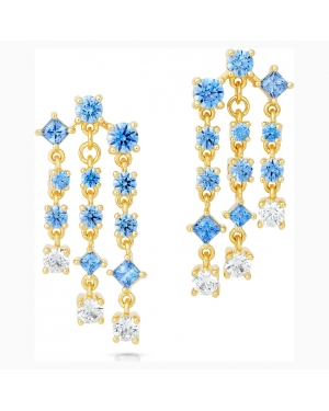 Penélope Cruz Icons of Film Chandelier Pierced Earrings, Blue, Gold-tone plated