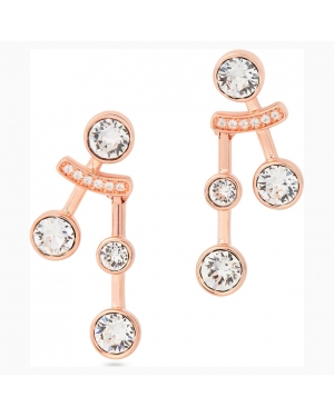 Theater Pierced Earrings, White, Rose-gold tone plated
