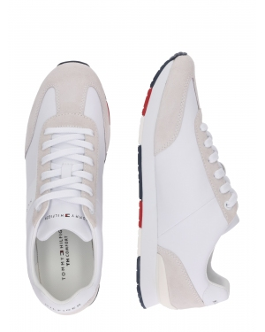 TOMMY HILFIGER Trampki niskie 'Leather Material Mix Runner'  biały