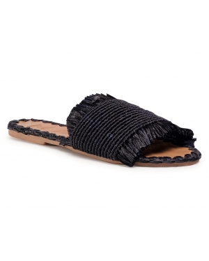 Klapki MANEBI - Leather Sandals S 1.6 Y0 Black Fringed