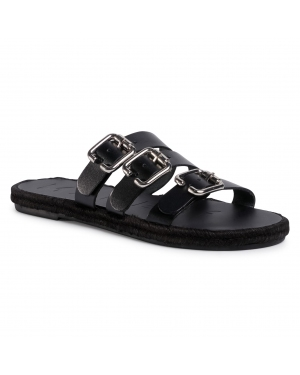 Espadryle MANEBI - Leather Sandals S 2.1 Y0 Black W Triple Buckle