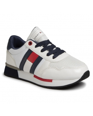 Sneakersy TOMMY HILFIGER - Low Cut Lace-Up Sneaker T3B4-30483-0733X336 M White/Blue X336