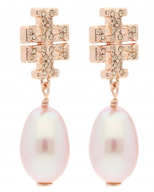 Kolczyki TORY BURCH - Kira Pave Pearl Drop Earring 60525 Rose Gold/Pearl