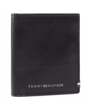 Mały Portfel Męski TOMMY HILFIGER - Polished Leather Trifold AM0AM06300 BDS
