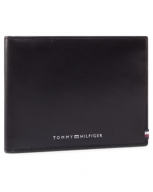 Duży Portfel Męski TOMMY HILFIGER - Polished Leather CC Flap & Coin AM0AM06301 BLK