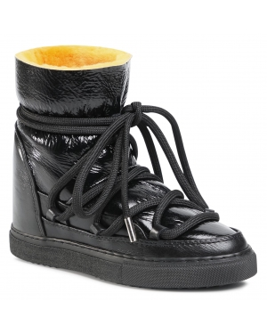 Buty INUIKII - Snker Patent Wedge 70203-067 Black/Yellow