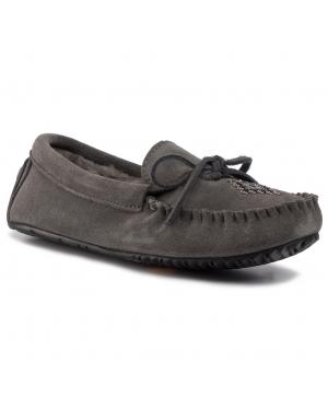Kapcie MANITOBAH - Lined Canoe Moccasin Suede L05 Charcoal/Anthracite