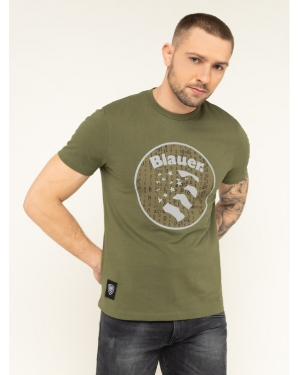 Blauer T-Shirt Manica Corta 19WBLUH02164 005505 Zielony Regular Fit