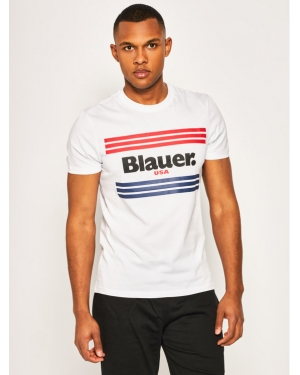 Blauer T-Shirt Stripes 20SBLUH02178 004547 Biały Regular Fit