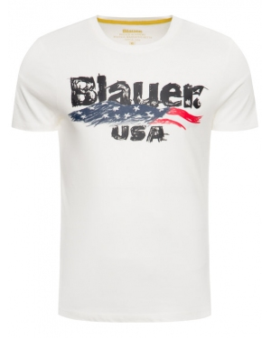 Blauer T-Shirt Brushstroke Print 19WBLUH02253 005568 Biały Regular Fit