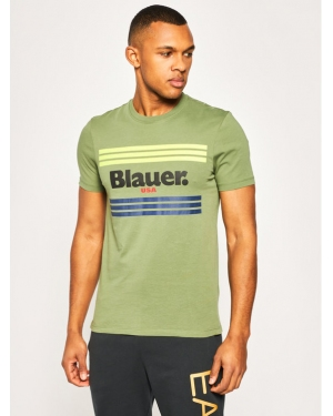 Blauer T-Shirt Stripes 20SBLUH02178 004547 Zielony Regular Fit
