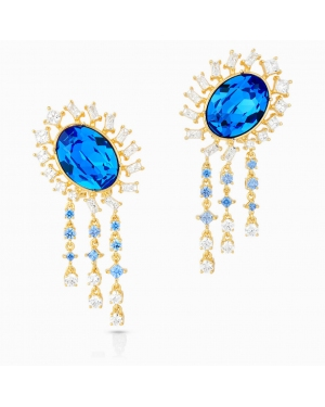 Icons of Film Pierced Earrings, Blue, Gold-tone plated