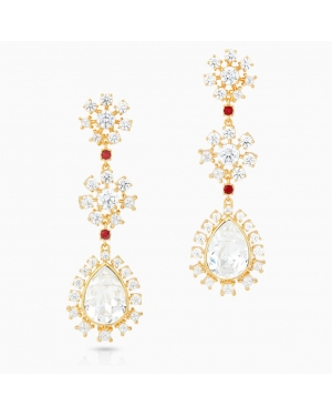 Icons of Film Pierced Earrings, Flower, Red, Gold-tone plated