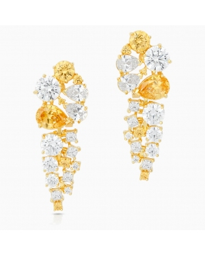Icons of Film Drop Pierced Earrings, Yellow, Gold-tone plated