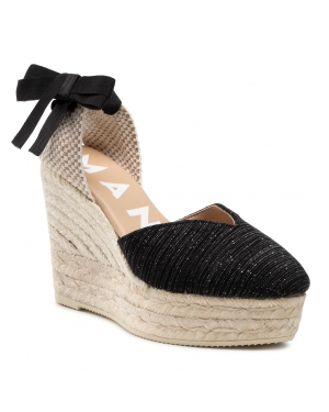 Espadryle MANEBI - Heart Shape Wedges G 0.1 WH Sparkling Black