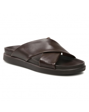 Klapki CLARKS - Sunder Cross 261573727  Dark Brown Leather