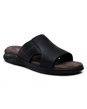 Klapki CLARKS - Hapsford Slide 261580857 Blk Tumbled Leather