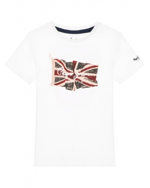 Pepe Jeans T-Shirt Flag Logo PB503170 Biały Regular Fit